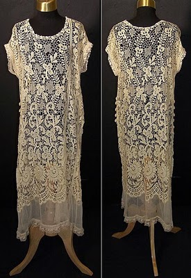 1920s yellow lace chemise shift dress